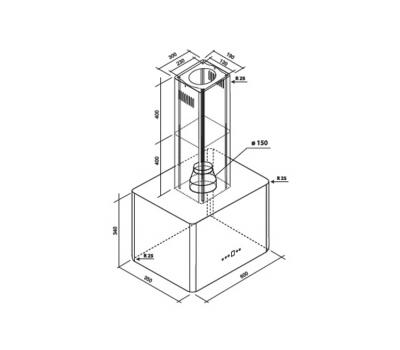 Okap wyspowy Toflesz OK-4 Olimpia 60 MAXI 700 m3/h - rysunek techniczny