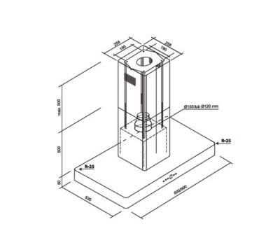 Outlet Okap wyspowy Toflesz Ok-6 MAGNUM ISLAND 60 850 m3/h Biały mat rysunek techniczny
