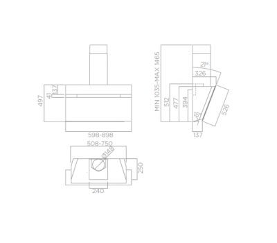 Outlet Okap przyścienny ELICA Stripe IX/A/90/LX Inox rysunek techniczny