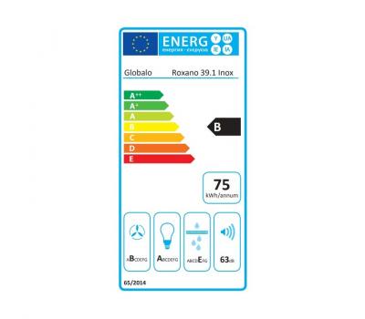 Okap przyścienny GLOBALO Roxano 39.1 Inox klasa energetyczna