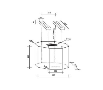 Outlet Okap wyspowy Toflesz OK-6 MILENIO MINI ISLAND CZARNY 850 m3/h rysunek techniczny