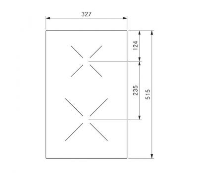 BORA Classic indukcyjna ceramiczna płyta grzewcza z dwoma polami grzewczymi CKI Classic 2.0 - rysunek techniczny 2