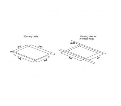 ZESTAW: Okap do zabudowy FALMEC Built-in Vetro 70 czarny (600m3/h) + PŁYTA INDUKCYJNA 78 CM rysunek techniczny