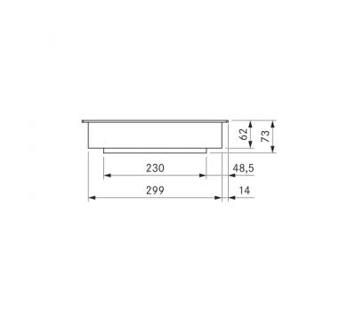 BORA Classic Tepan ze stali szlachetnej z dwoma polami grzewczymi CKT Classic 2.0 - rysunek techniczny 1