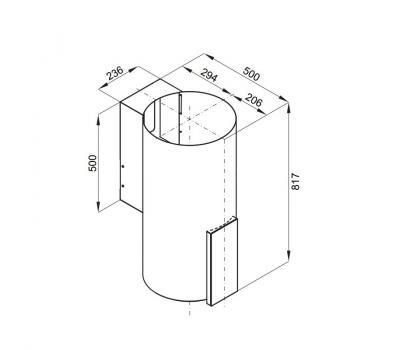 Okap przyścienny GLOBALO Roxano 39.1 Inox rysunek techniczny