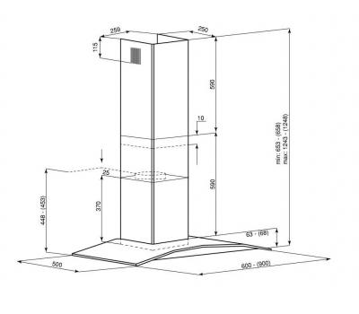Okap przyścienny GLOBALO Divida 90.4 Sensor White rysunek techniczny