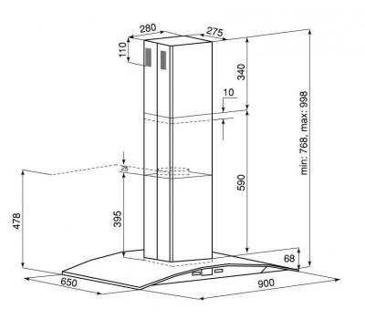 Okap wyspowy GLOBALO Divida Isola 90.4 Sensor rysunek techniczny