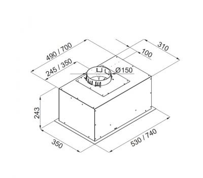 Okap do zabudowy GLOBALO Hoxado 80.1 Inox rysunek techniczny