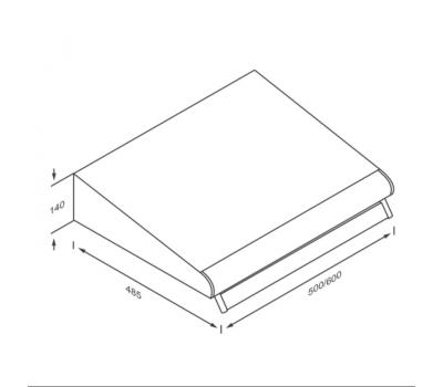Okap podszafkowy KERNAU KBH 0950.1 B rysunek techniczny