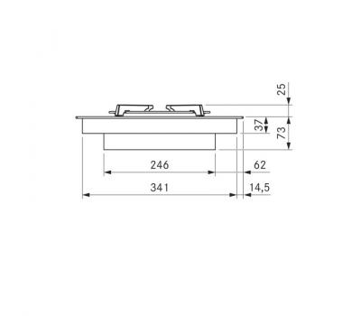 BORA Pro ceramiczna płyta grzewcza gazowa z dwoma polami grzewczymi PKG11 - rysunek techniczny 1