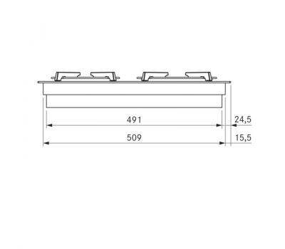 BORA Pro ceramiczna płyta grzewcza gazowa z dwoma polami grzewczymi PKG11 - rysunek techniczny 2