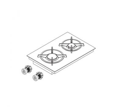 BORA Pro ceramiczna płyta grzewcza gazowa z dwoma polami grzewczymi PKG11 - rysunek techniczny 3