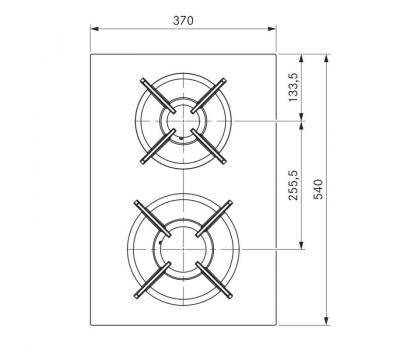 BORA Pro ceramiczna płyta grzewcza gazowa z dwoma polami grzewczymi PKG11 - rysunek techniczny 4