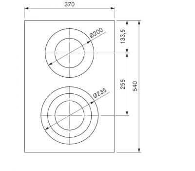 BORA Pro ceramiczna płyta grzewcza HiLight z dwoma polami grzewczymi, 3 pierścienie / 2 pierścienie PKC32 - rysunek techniczny 2