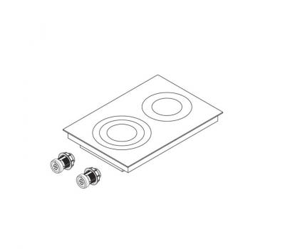 BORA Pro ceramiczna płyta grzewcza HiLight z dwoma polami grzewczymi, 3 pierścienie / 2 pierścienie PKC32 - rysunek techniczny 4