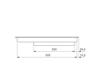 BORA Pro ceramiczna płyta grzewcza Hyper z dwoma polami grzewczymi, 1 pierścień / 2 pierścienie PKCH2 - rysunek techniczny 1