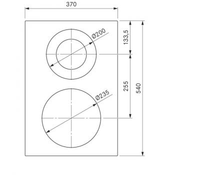 BORA Pro ceramiczna płyta grzewcza Hyper z dwoma polami grzewczymi, 1 pierścień / 2 pierścienie PKCH2 - rysunek techniczny 2