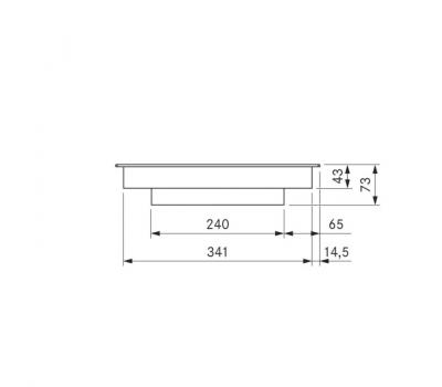 BORA Pro ceramiczna płyta grzewcza Hyper z dwoma polami grzewczymi, 1 pierścień / 2 pierścienie PKCH2 - rysunek techniczny 3