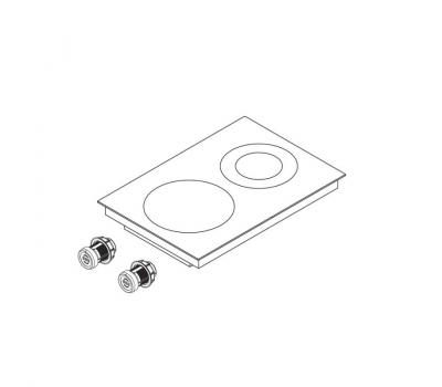 BORA Pro ceramiczna płyta grzewcza Hyper z dwoma polami grzewczymi, 1 pierścień / 2 pierścienie PKCH2 - rysunek techniczny 4