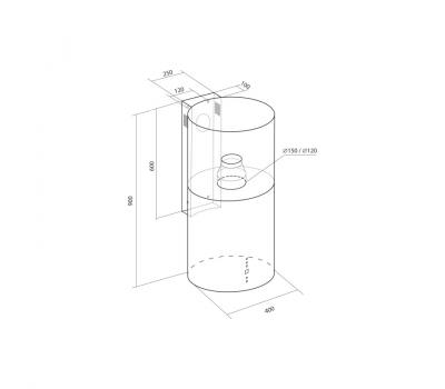 Okap przyścienny Toflesz Ok-4 BALTIC inox 700 m3/h - rysunek techniczny