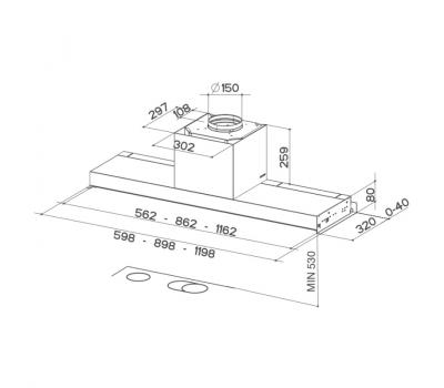 Okap do zabudowy FABER IN-NOVA PREMIUM X - rysunek techniczny