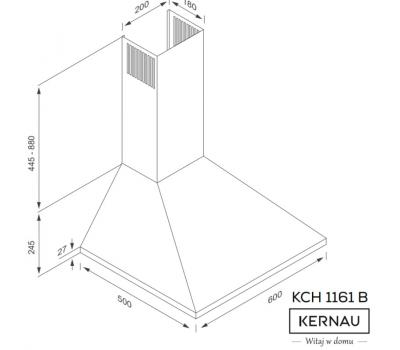 Okap przyścienny KERNAU KCH 1161 B - rysunek techniczny