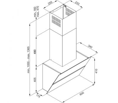 Okap przyścienny KERNAU KCH 4860 W - rysunek techniczny