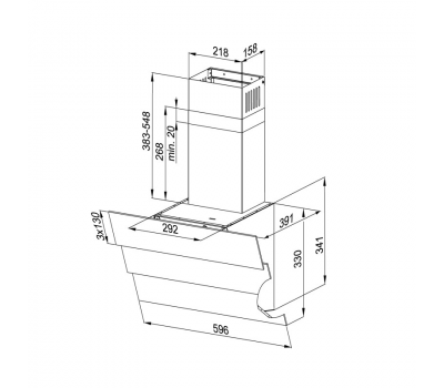 Okap przyścienny KERNAU KCH 3561.1 B - rysunek techniczny