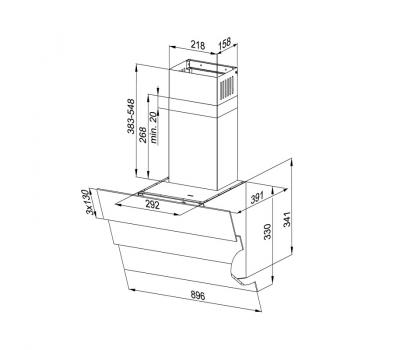 Okap przyścienny KERNAU KCH 3591.1 B - rysunek techniczny