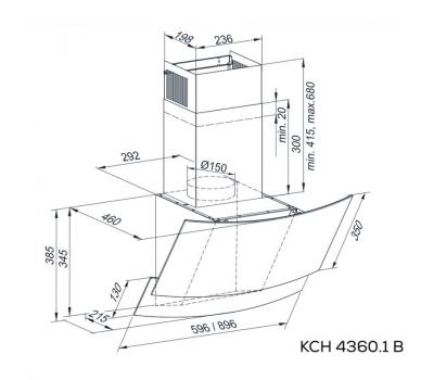 Okap przyścienny KERNAU KCH 4360.1 B - rysunek techniczny