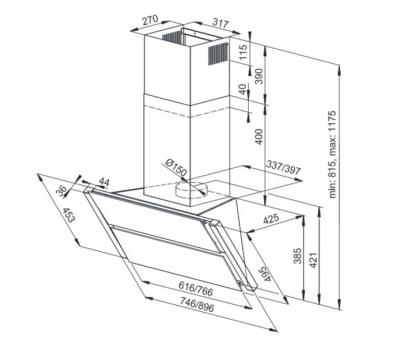Okap przyścienny KERNAU KCH 4891 B rysunek techniczny