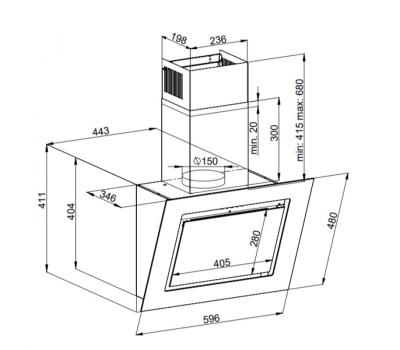 Okap przyścienny KERNAU KCH 2192 B - rysunek techniczny