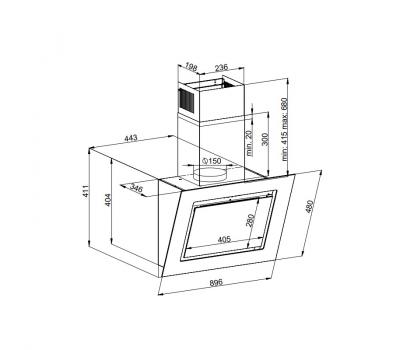 Okap przyścienny KERNAU KCH 2192 W - rysunek techniczny