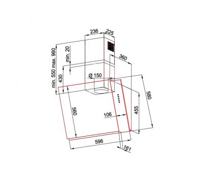 Okap przyścienny KERNAU KCH 2960 B - rysunek techniczny