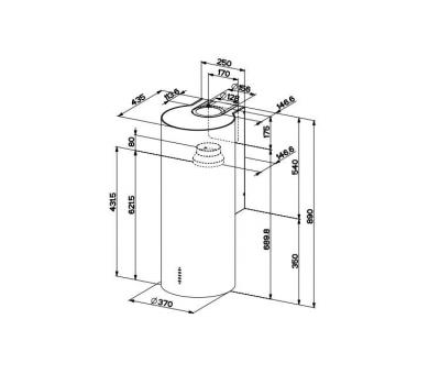 Okap przyścienny FABER CYLINDRA GLOSS PLUS EV8+ 37 rysunek techniczny