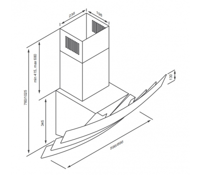 Okap przyścienny KERNAU KCH 4290.1 B rysunek techniczny