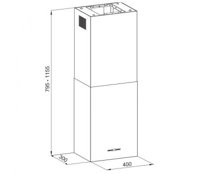 Okap wyspowy KERNAU KCH 0240 W ISLAND - rysunek techniczny