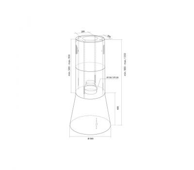 Okap wyspowy Toflesz Galaxy Island Czarny 700 m3/h - rysunek techniczny