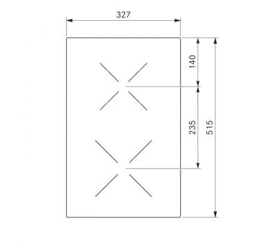 BORA Classic ceramiczna płyta grzewcza Hyper z dwoma polami grzewczymi, 1 pierścień/2 pierścienie CKCH Classic 2.0 - rysunek techniczny 4