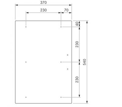 BORA Pro indukcyjna ceramiczna płyta grzewcza z dwoma polami grzewczymi o pełnej powierzchni PKFI11 - rysunek techniczny 2