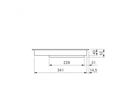 BORA Pro indukcyjna ceramiczna płyta grzewcza z dwoma polami grzewczymi o pełnej powierzchni PKFI11 - rysunek techniczny 3