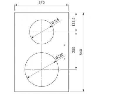 BORA Pro indukcyjna ceramiczna płyta grzewcza z dwoma polami grzewczymi PKI11 - rysunek techniczny 3