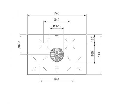 BORA Pure indukcyjna płyta grzewcza ze zintegrowanym wyciągiem oparów – Powietrze odprowadzane PURA - rysunek techniczny 1