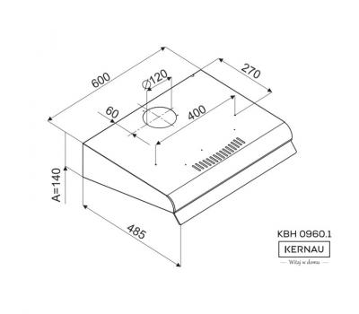 Okap podszafkowy KERNAU KBH 0960.1 S rysunek techniczny