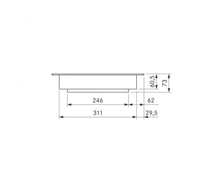 BORA Pro grill Tepan ze stali szlachetnej z dwoma polami grzewczymi PKT11 - rysunek techniczny 3