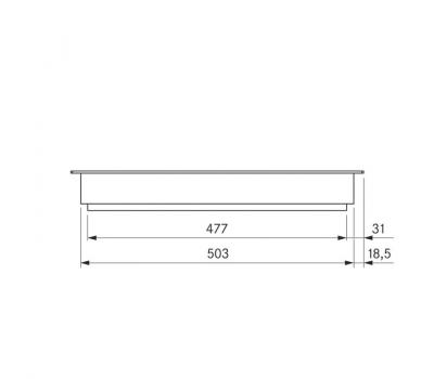 BORA Pro grill Tepan ze stali szlachetnej z dwoma polami grzewczymi PKT11 - rysunek techniczny 4