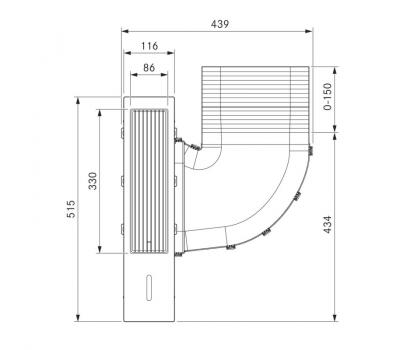 BORA Classic wyciąg oparów CKA2 Classic 2.0 - rysunek techniczny 3