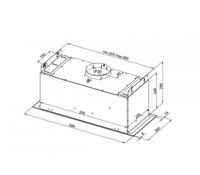 Okap do zabudowy GLOBALO Amadio 60.1 Inox schemat