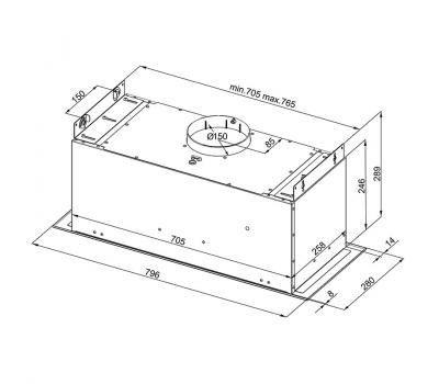 Rysunek techniczny Okapu do zabudowy GLOBALO Agendero 80.1 Inox