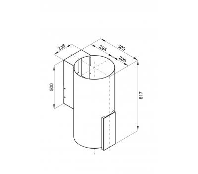 Okap przyścienny GLOBALO Roxano 39.1 Miedź rysunek techniczny